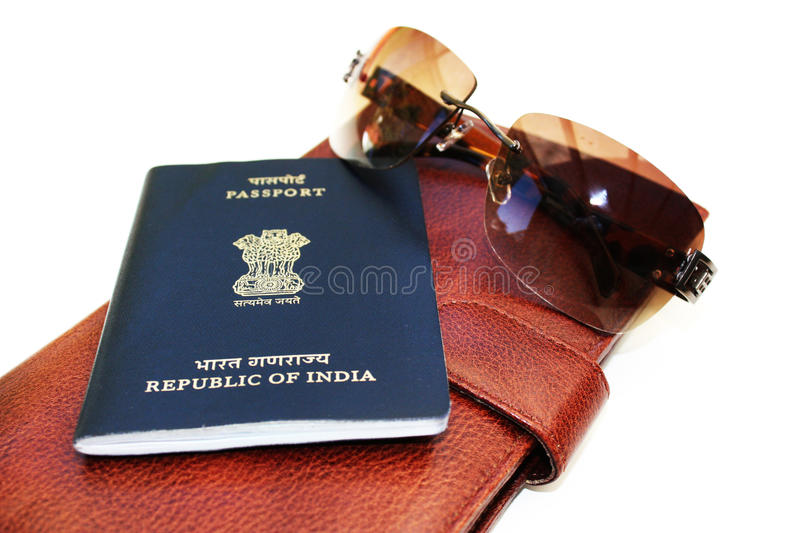 Passport and wallet stock photos
