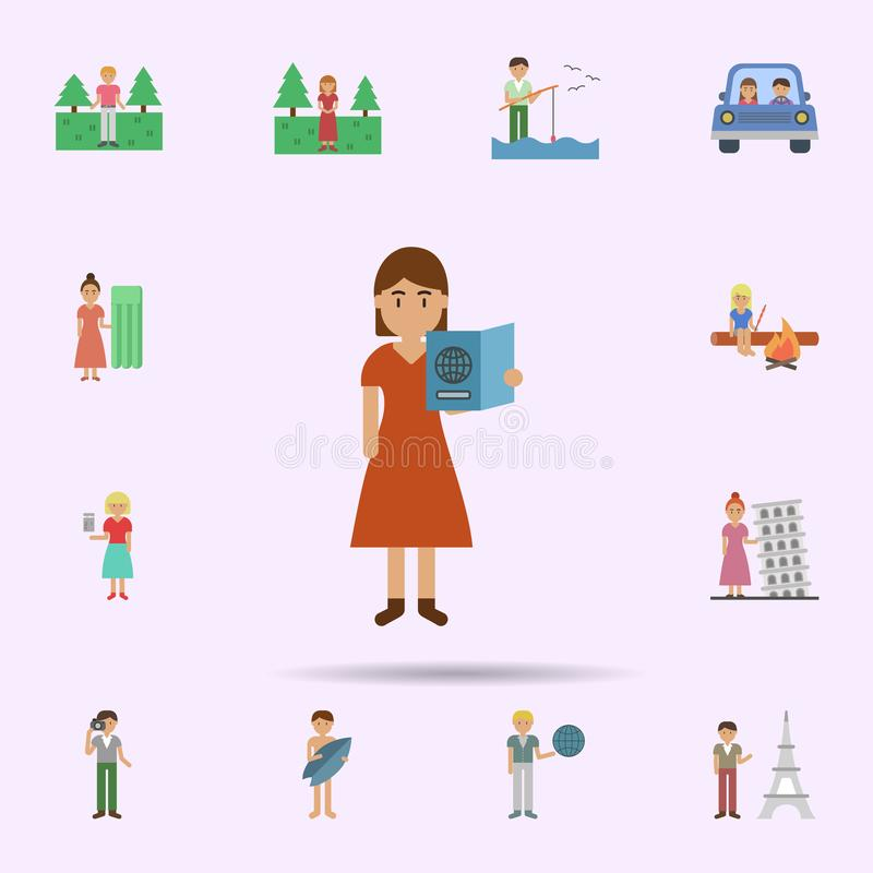 Passport, woman cartoon icon. Universal set of travel for website design and development, app development. On color background stock photography
