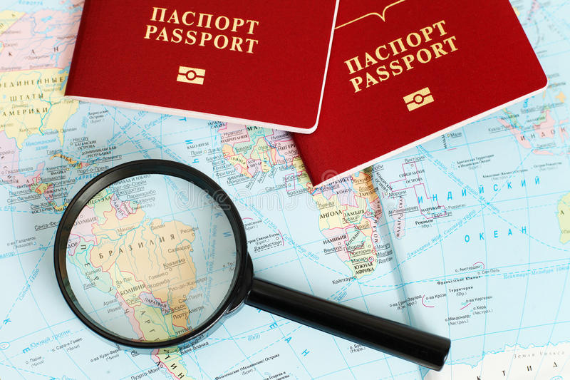 Passports on map. Travel. Map stock photos