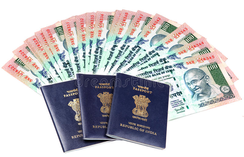 Passports and money. Over white background royalty free stock images