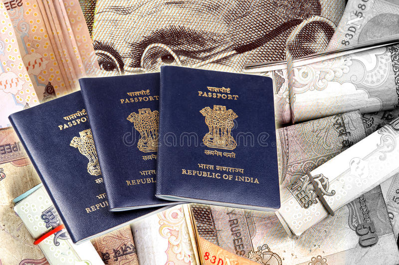 Passports and money. Passports lying on money background royalty free stock photography