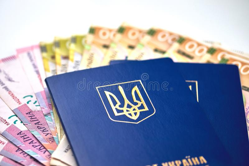 Passports with national currency paper money close up view of cash. On white background vacation election currency exchange voting election finance financial royalty free stock photo