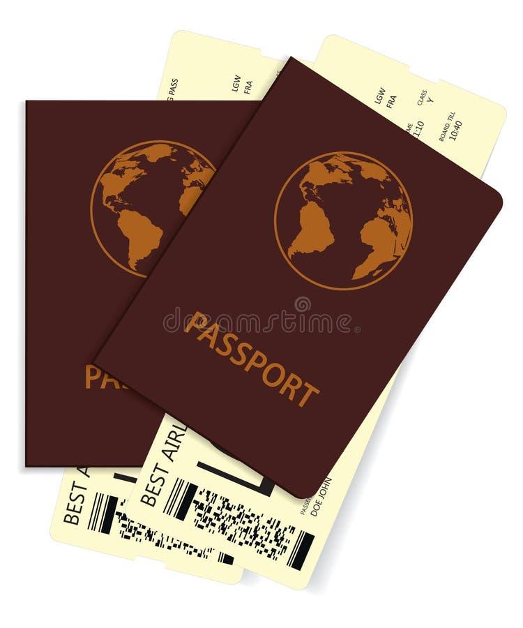 Passports with plane tickets stock illustration