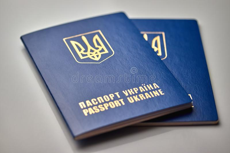 Passports with state emblem close up isolated on white background. Passports with state emblem close-up on a white background election trip vote vacation royalty free stock image