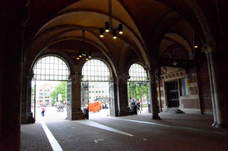 Passsage under an historic building in Amsterdam stock photography