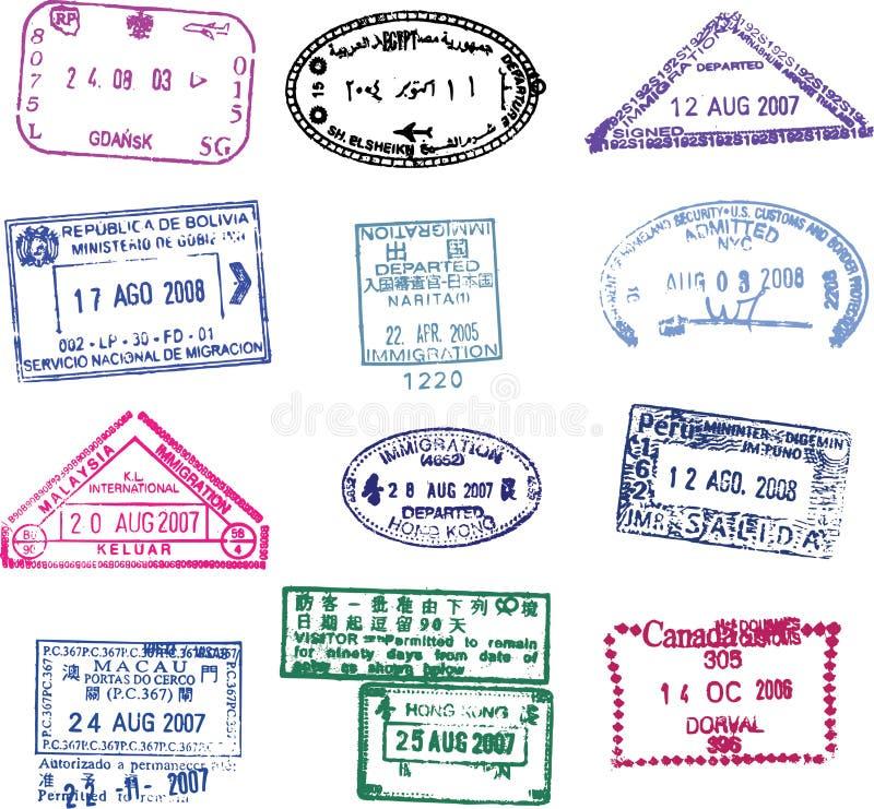 passstämpelvektor royaltyfri illustrationer