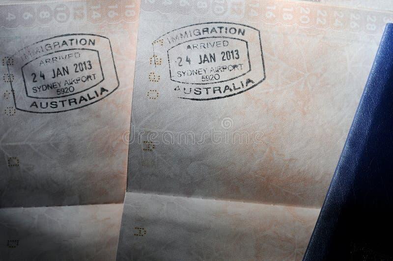 PassVisastämplar - Australien royaltyfria bilder