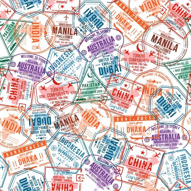 Passvisumstämplar, sömlös modell Rubber stämplar för international- och invandringkontor Resa och turism stock illustrationer