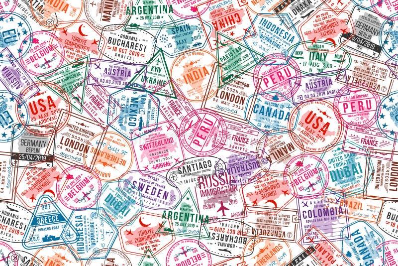 Passvisumstämplar, sömlös modell Rubber stämplar för international- och invandringkontor Resa och turismbegrepp stock illustrationer