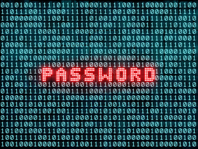 Password and binary code royalty free illustration