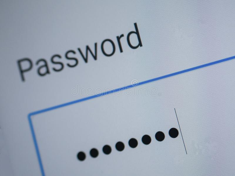 Password blank form  on the web site stock photography