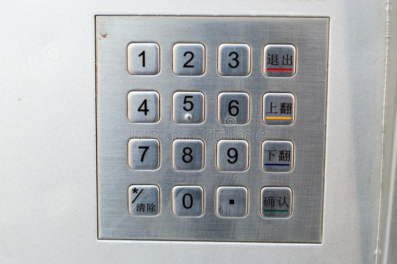 Password button. ATM machine button Password protected Security royalty free stock images