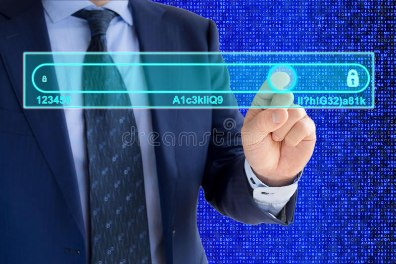 Password complexity concept. IT expert in a blue suit is moving a slider from insecure to secure passwords royalty free stock photo
