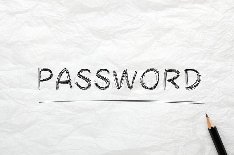 Password On Wrinkled Lined Paper. The word Password highlighted with pencil on wrinkled lined paper. Business concept stock photos