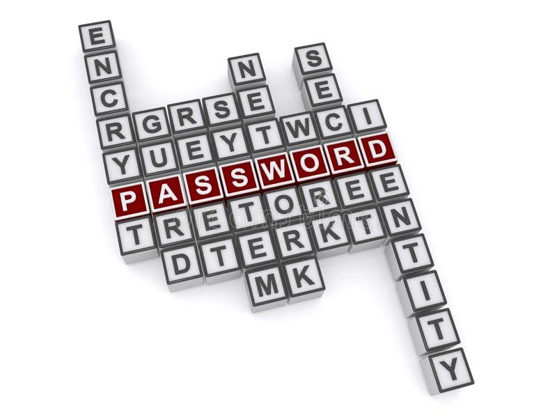 Password crossword puzzle vector illustration