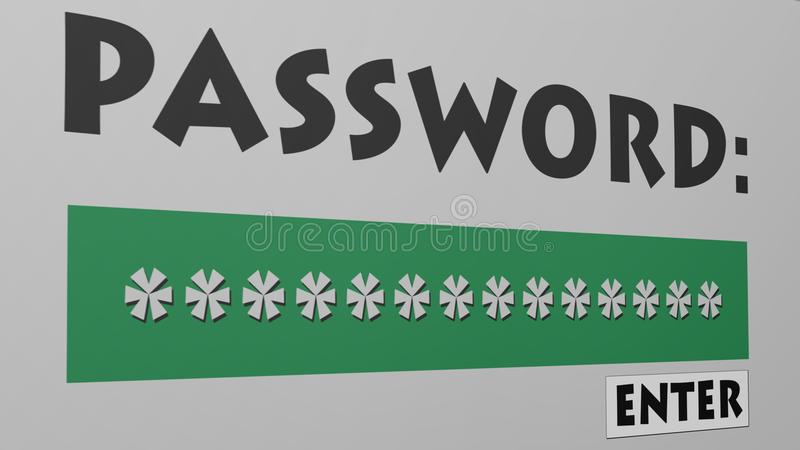 Password and Enter Button. vector illustration