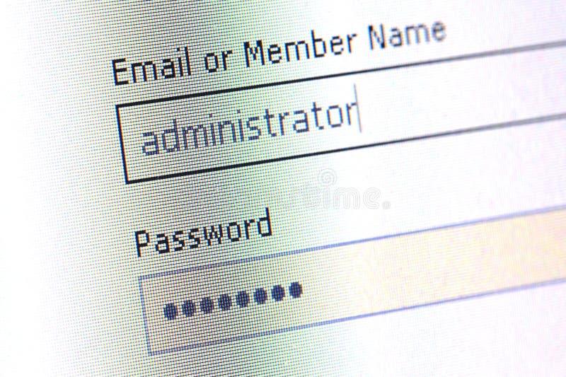 Password filed stock image