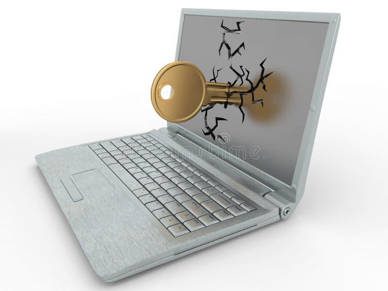 Password hacked. Key in laptop stock illustration