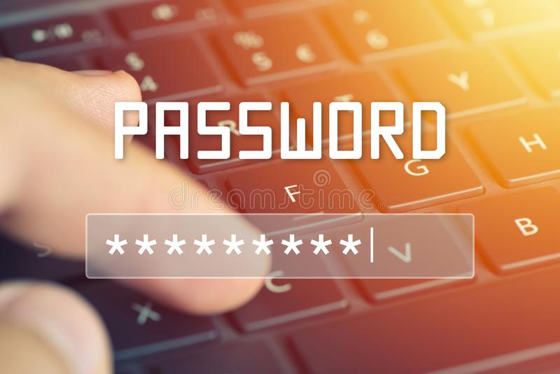 Password input on blurred background screen. Password protection against hackers stock images