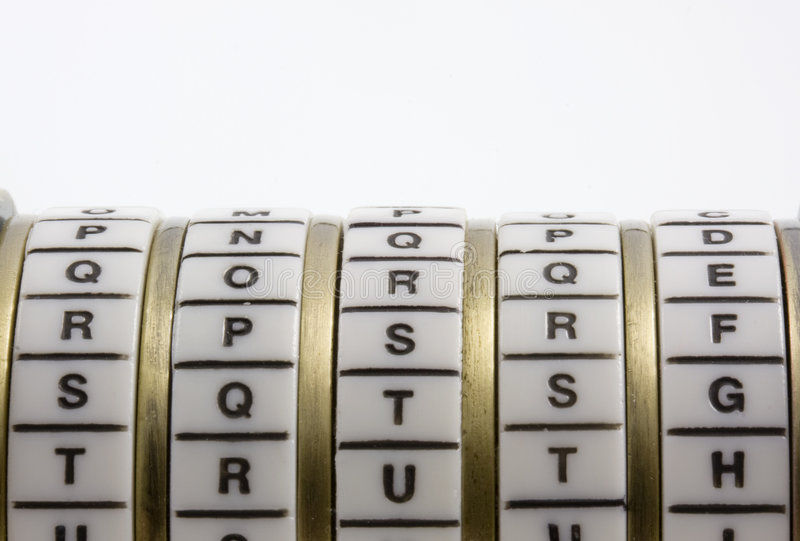 Password, keyword or combination - truth. Cryptex stock photo
