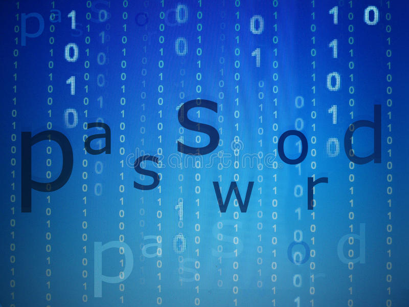 Password online security concept blue royalty free stock photos