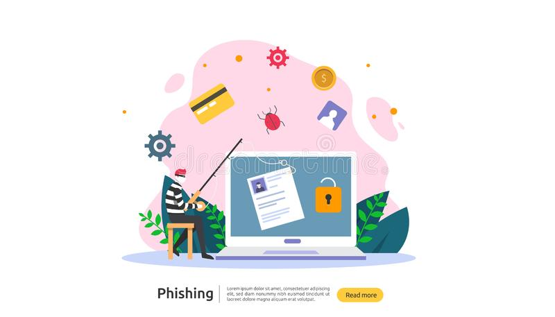password phishing attack concept landing page template. heacker stealing personal internet security with tiny people character. stock illustration
