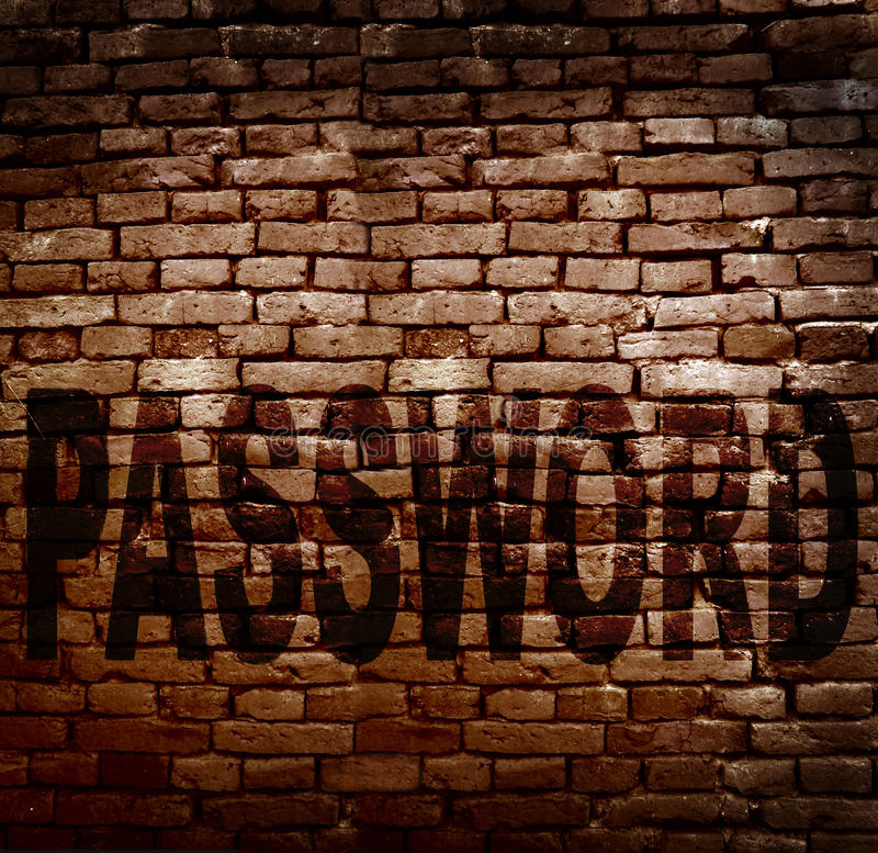 Password protection. Brick wall with Password text -- online security concept stock image
