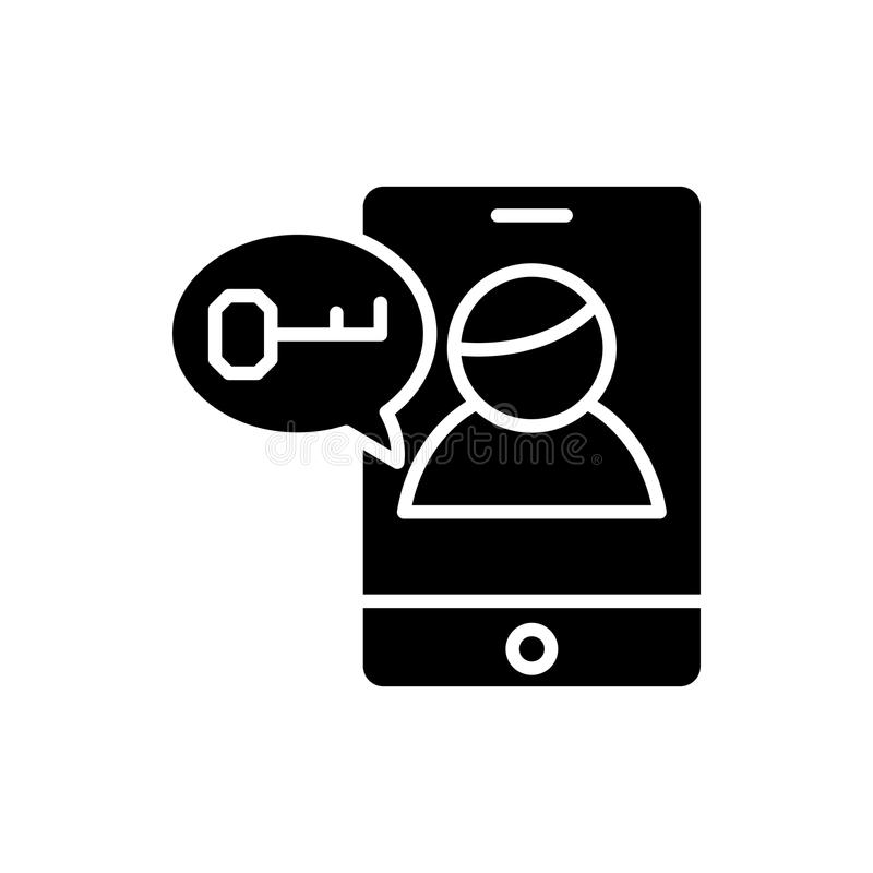 Password request black icon concept. Password request flat vector symbol, sign, illustration. vector illustration