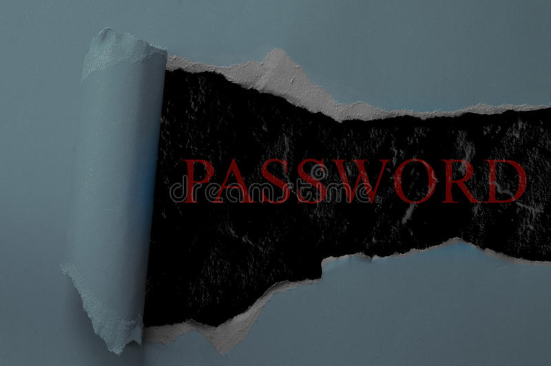 Password reveal. Paper torn and rolled, with Password text - Internet security concept royalty free stock image