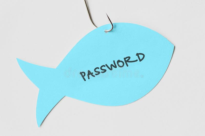 Password written on a paper note in the shape of a fish attached. To a hook - Phishing and internet security concept royalty free stock image