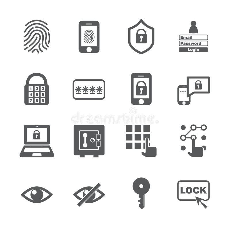 Passwortikonensatz stock abbildung