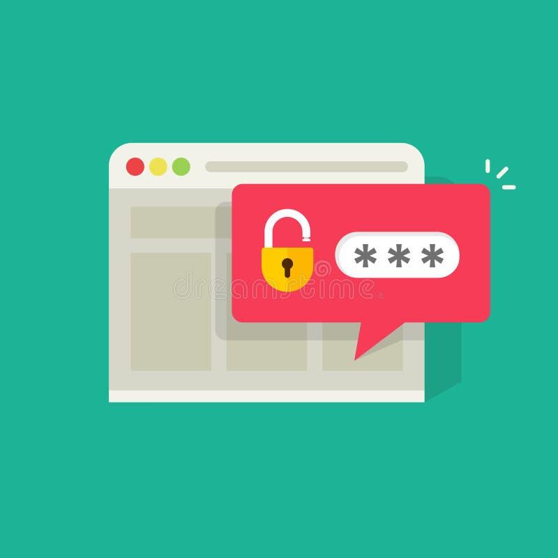 Passwortmitteilungsblase mit offenem Verschluss in der Browserwitwen-Vektorillustration, in der flachen Kartonanmeldung oder in s lizenzfreie abbildung