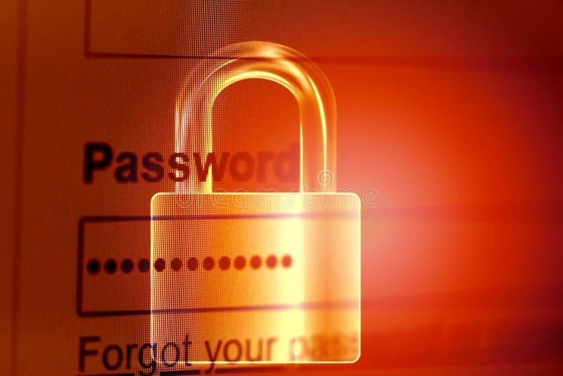 Passwortverschluss-/Passwortsicherheit Cyberdiebschutzüberprüfungs-Datensystemkasten auf Internet-Browservorhängeschlosshintergru lizenzfreies stockbild