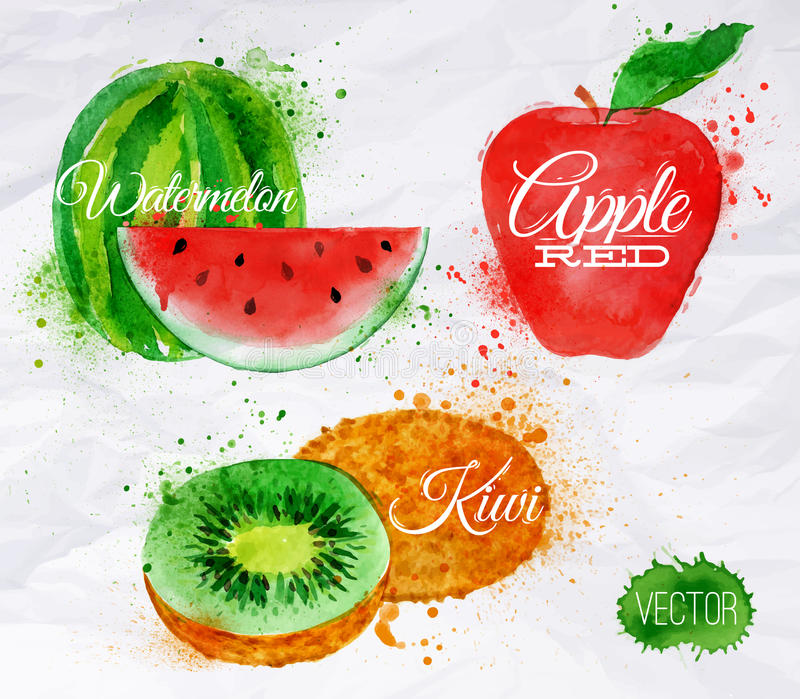 Pastèque d'aquarelle de fruit, kiwi, rouge de pomme illustration stock