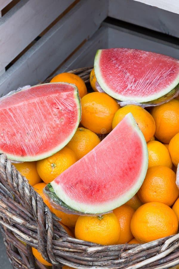 Pastèque Et Oranges Photos libres de droits