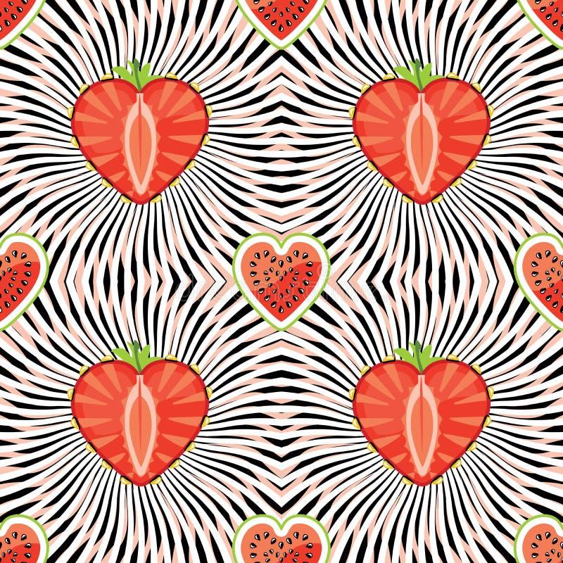 Pastèque, fraise sur le fond abstrait illustration stock