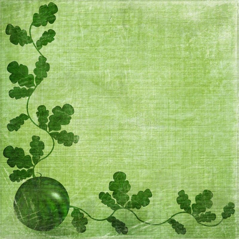Pastèque mûre avec le feuillage vert illustration de vecteur