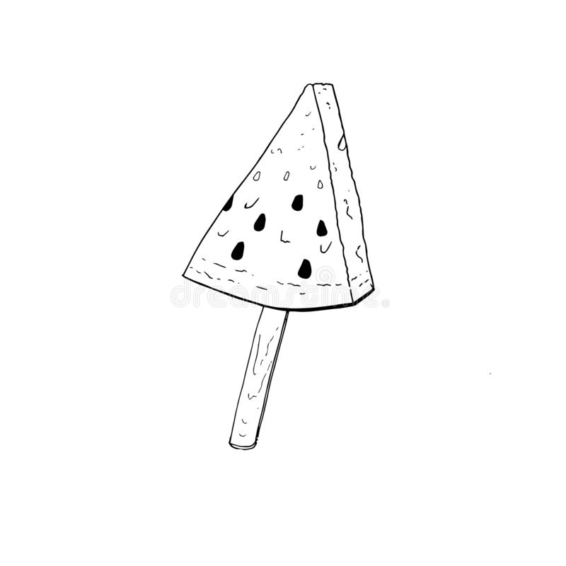 Pastèque peu commune de crème glacée sur un bâton illustration de vecteur