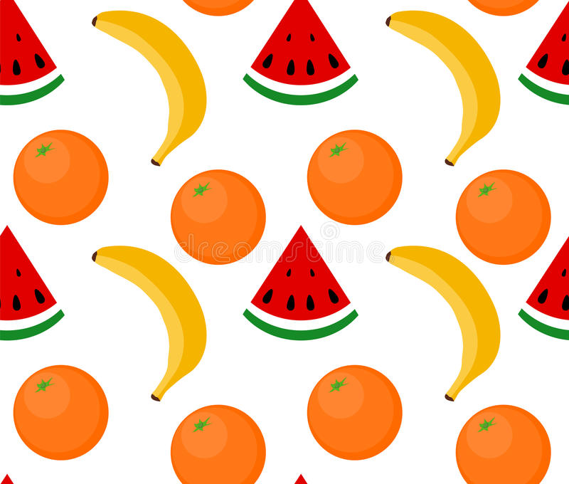 Pastèque sans couture de fruit de fond, banane, orange illustration libre de droits