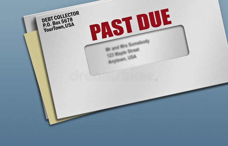 Past due credit bills. Several pieces of mail with one past due notice