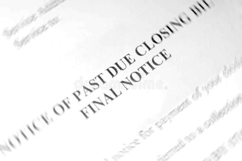 Past due notice. With intentional blur stock photography