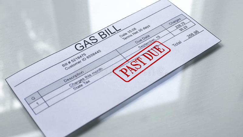 Past due seal stamped on gas bill, payment for services, month expenses, tariff. Stock photo royalty free illustration