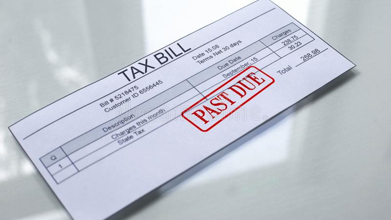 Past due seal stamped on tax bill, payment for services, month expenses, tariff. Stock photo royalty free illustration