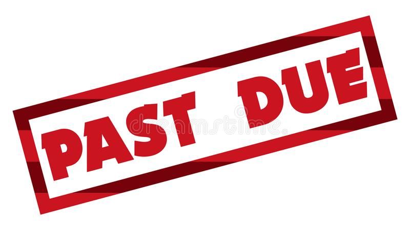 Past Due Stamp 001 - Red Color - White Background royalty free illustration