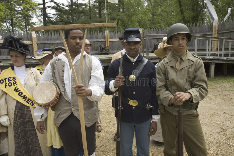 Past and present African American soldiers. Posing as part of the 400th anniversary of the Jamestown Colony, Virginia, attended by Her Majesty Queen Elizabeth stock photos