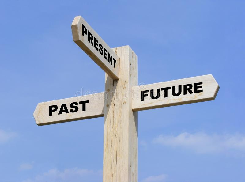 Past Present Future. Isolated wooden signpost with the text past, present and future royalty free stock image