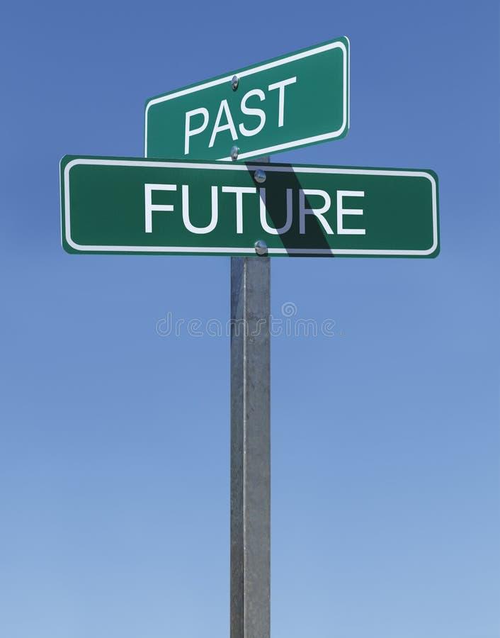 Past przyszłość znaki fotografia royalty free