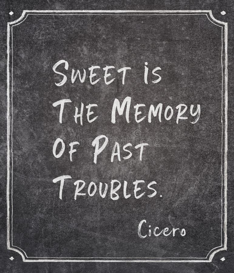 Past troubles Cicero quote. Sweet is the memory of past troubles - ancient Roman philosopher Cicero quote written on framed chalkboard stock image