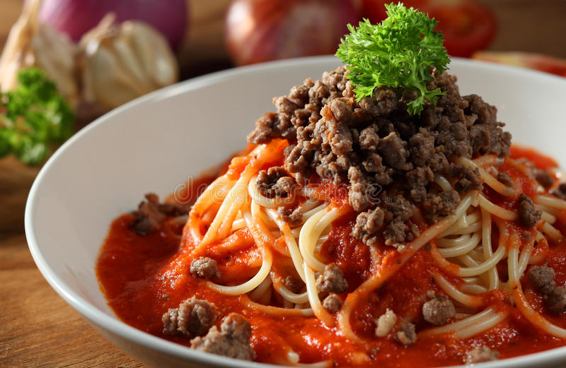 Pasta. Mood shoot of spaghetti with mince meat stock image