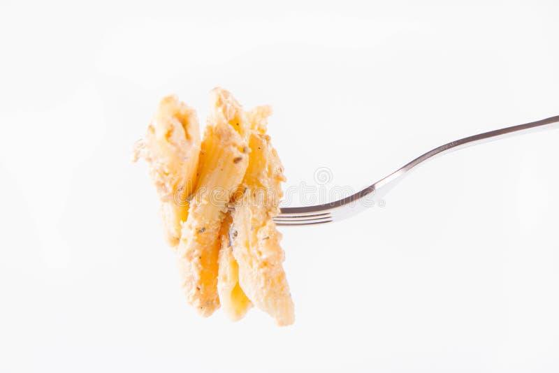 Pasta alimentare con una forcella fotografie stock libere da diritti